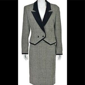 Louis Feraud blk/white houndstooth skirt suit 10